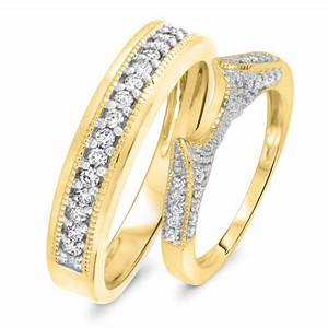 1 2 ct tw diamond his and hers wedding rings 10k yellow With gold wedding rings his and hers