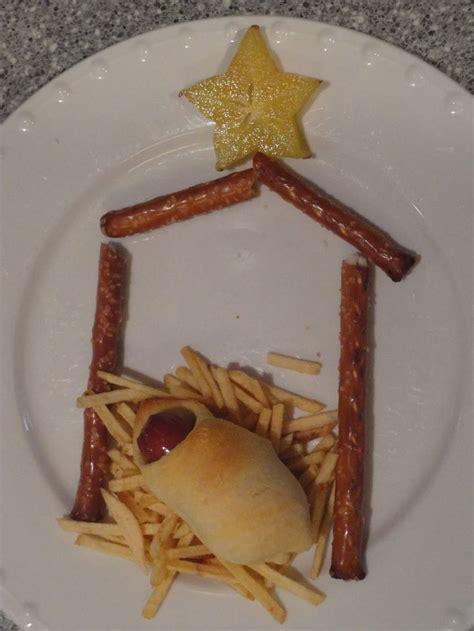 nativity snack pretzel rod stable potato sticks