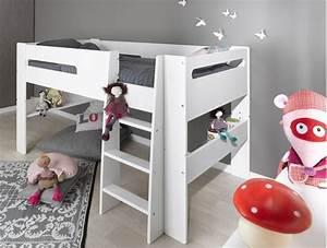 Lit Mezzanine Mi Hauteur : lit modulable mi hauteur blanc london 90x200cm ~ Melissatoandfro.com Idées de Décoration