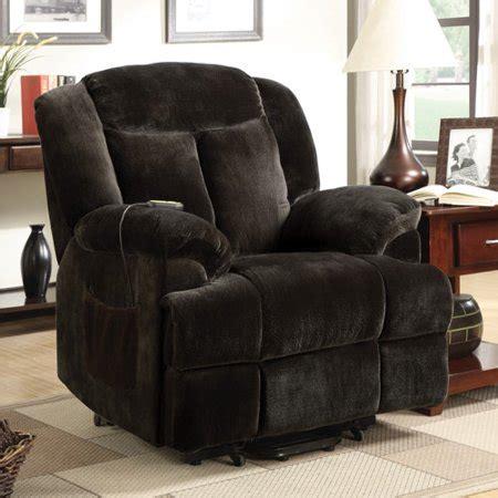 Recliner Chair Walmart by Coaster Padded Back Velvet Power Lift Recliner Brown