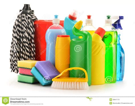 Detergent Bottles On White. Chemical Cleaning Supplies