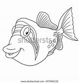 Triggerfish Coloring Trigger Fish Cartoon Children Shutterstock Picasso sketch template
