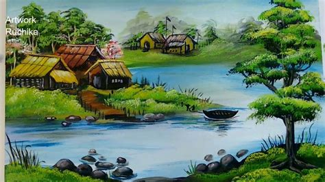 village scenery  beautiful landscape acrylic painting