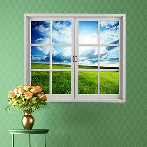 grassland 3d artificial window view blue sky 3d wall With window wall decal
