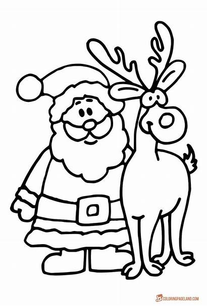 Santa Claus Coloring Reindeer Pages Christmas Rudolph
