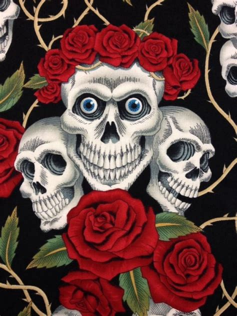 rose tattoo skull rose biker goth grateful dead outsider art cotton fabric quilt fabric blue