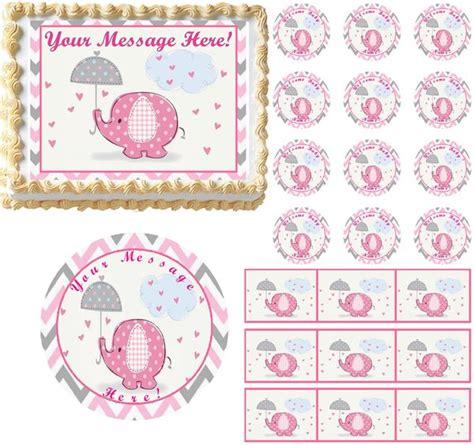 adorable chevron pink elephant hearts baby shower edible