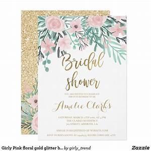 Girly Pink Floral Gold Glitter Bridal Shower Invitation
