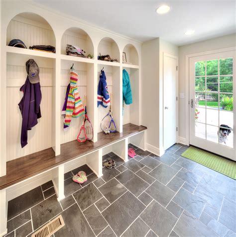 Mudroom floor entry traditional with green doormat