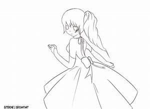 Girl in Dress - Outline by Ecterine on DeviantArt