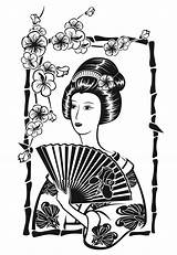 Coloring Geisha Pages Fan Japan Adult Adults Cherry Blossom Books Colouring Printable Japanese Chinese Sheets Imprimer Fans Oriental Japonaise Japon sketch template
