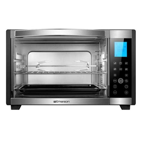 Rotisserie Chicken In Toaster Oven by Emerson 6 Slice Black And Stainless Convection And