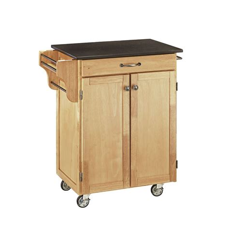 portable kitchen island  black granite top