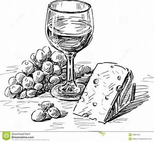 Vector drawing of a wine glass, grape and cheese ...