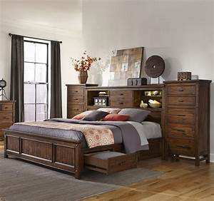 Intercon, Wolf, Creek, Queen, Bookcase, Bed, With, Storage, Rails