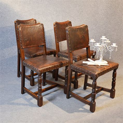 four oak leather dining chairs cromwellian antiques atlas
