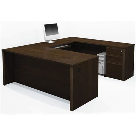 bestar prestige l shaped desk with pedestal bestar bestar prestige 5 u shape desk in chocolate