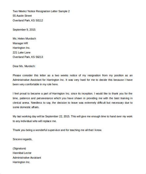 weeks notice letter templates  google docs