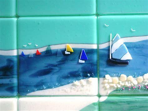 Beach Themed Fused Glass Tiles (Nantucket)   Designer