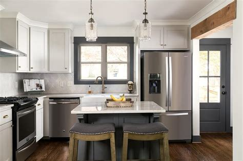 Light Gray Cabinets with Dark Gray Kitchen Island