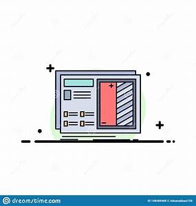 Blueprint, Design, Drawing, Plan, Prototype, Flat, Color, Icon, Vector, Stock, Vector