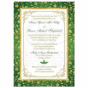 photo optional wedding invitation green gold white With foil wedding invitations ireland