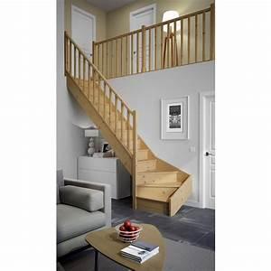 Escalier Double Quart Tournant Pas Cher : escaliers qt bas bois standard escaliers ~ Premium-room.com Idées de Décoration