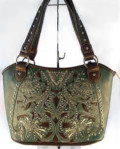 Concealed Carry Handbag CCW Purse Montana West Cut-Out & Rhinestones - Turquoise