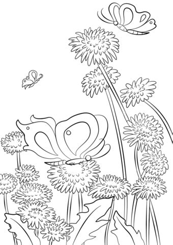 butterflies  flowers coloring page  printable coloring pages
