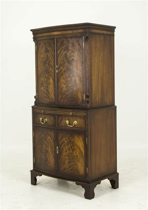 antique serpentine mahogany dry bar cocktail cabinet