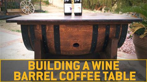 build  wine barrel coffee table youtube