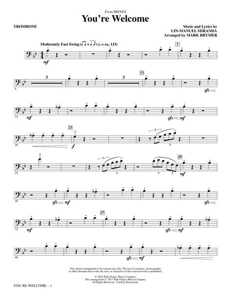 But in this lesson i want to focus on combining trombone warm up with getting to know your instrument better and heat up your brain at the same time. You're Welcome (from Moana) (arr. Mark Brymer) - Trombone Sheet Music   Lin-Manuel Miranda ...