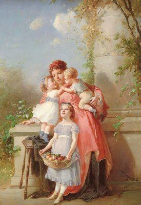 graphic beautiful painting  mother  children
