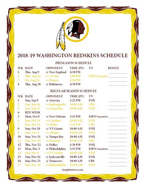 printable   washington redskins schedule
