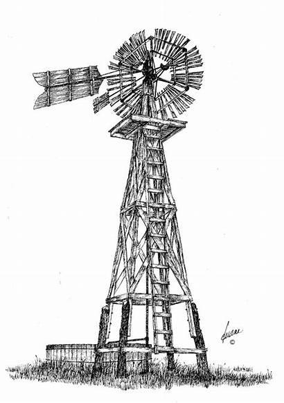 Windmill Drawings Drawing Windmills Pen Pencil Tail