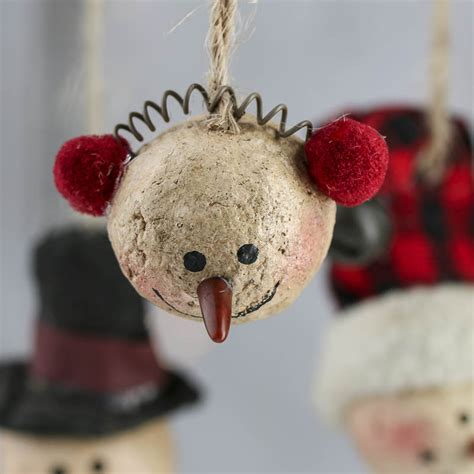 primitive paper clay snowman ornaments christmas