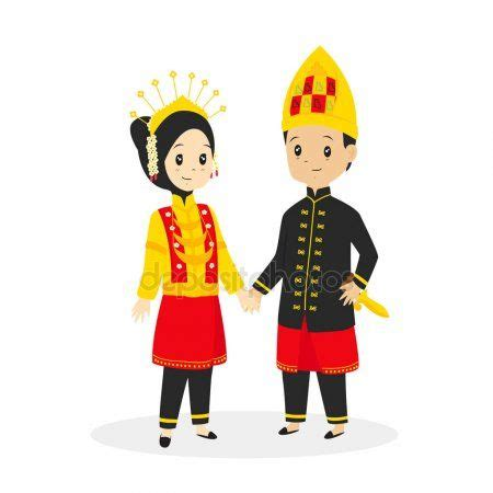 indonesia aceh traditional wedding dress vector