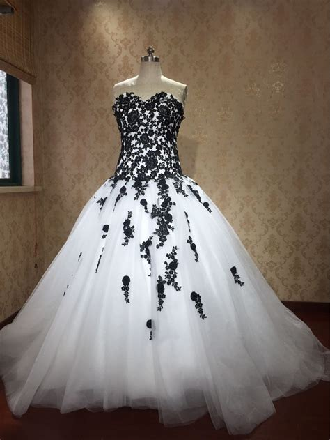 2017 Black And White Ball Gowns Gothic Wedding Dresses