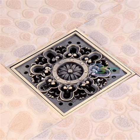 4 inch square shower drain cover euro carved square bathroom shower drain floor waste drain