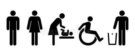 Restroom Universal Set Of Signs Stock Vector