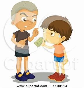 Clipart of a Mean Caucasian Boy Bullying a Girl and ...