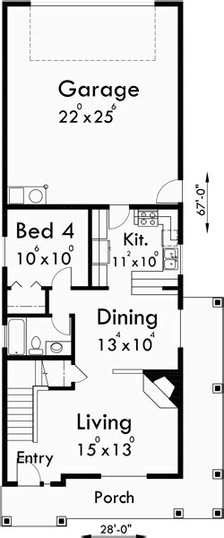 Narrow Lot House Plans With Rear Garage by Two Story House Plans Narrow Lot House Plans Rear Garage
