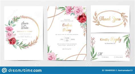 Elegant Golden Flowers Wedding Invitation Cards Template