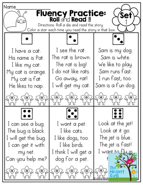 fluency practice roll a die and read a simple sentence made of sight words and cvc words color