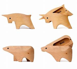 bull and bear wood boxes Interior Design Ideas