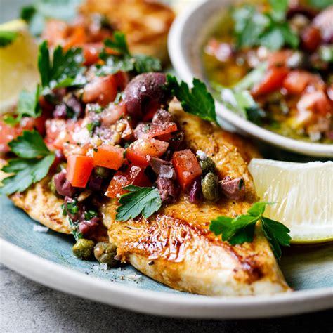 chicken breasts  olive tomato  caper dressing