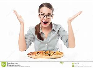 Happy Woman Eating Pizza Royalty Free Stock Photos