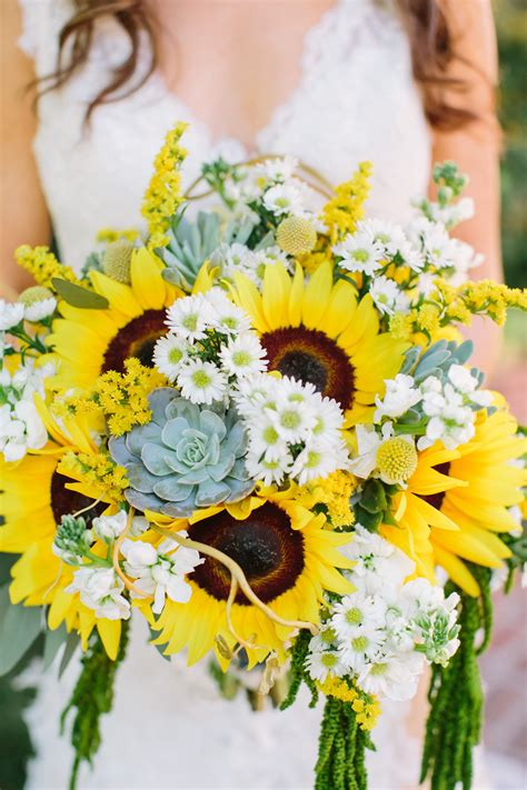 Bright Sunflowers Succulent And Daisy Bouquet The Perfect