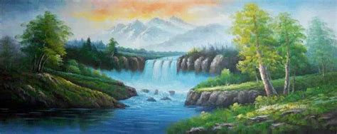 Waterfall In Summer Style Of Bob Ross Painting In Oil For Sale