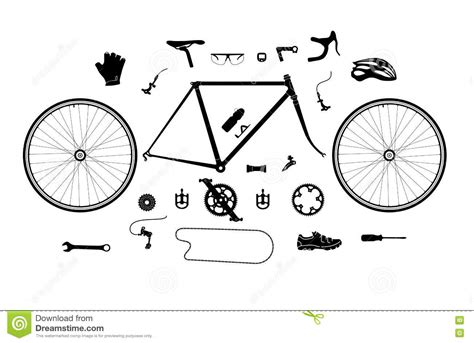 Road Bicycle Parts And Accessories Silhouette Set, Elements For Infographic, Etc Stock Vector